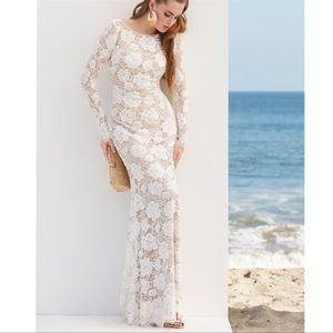 By Watters White Lace Long Sleeve Bridal Gown